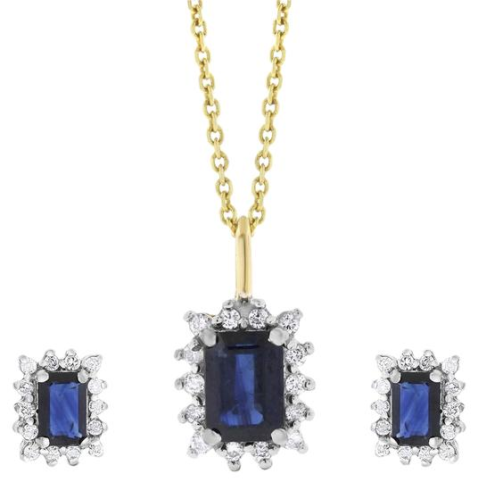 Preload https://item2.tradesy.com/images/295-ct-natural-diamonds-and-sapphire-pendant-set-14k-yellow-earrings-20571511-0-1.jpg?width=440&height=440
