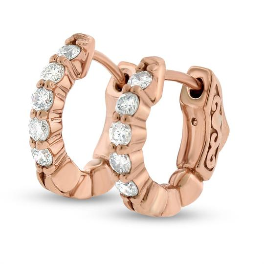 Other 0.42 Ct. Natural Diamond Small Hoop Huggie Earrings Solid 14k Rose