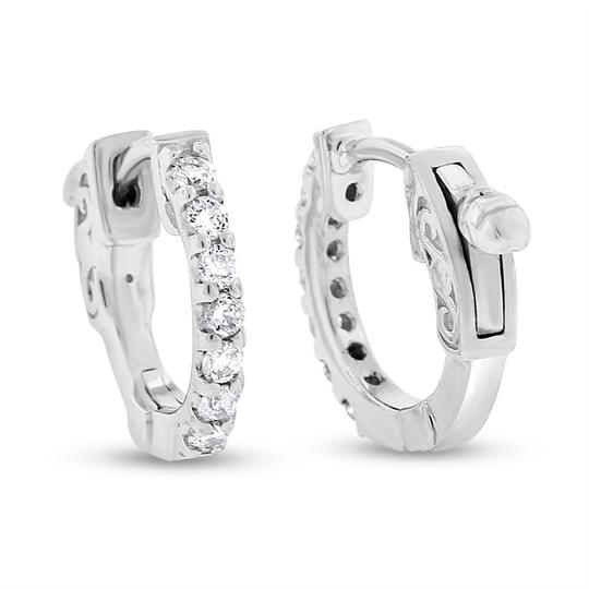 Other 0.28 Ct. Natural Diamond Extra Small Baby Huggie Hoop Earrings In Soli