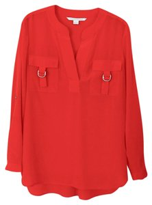 Diane von Furstenberg Dvf Silk Top Red