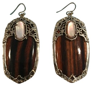 Kendra Scott Deva Statement Earrings in Tigers Eye and Mother of Pearl