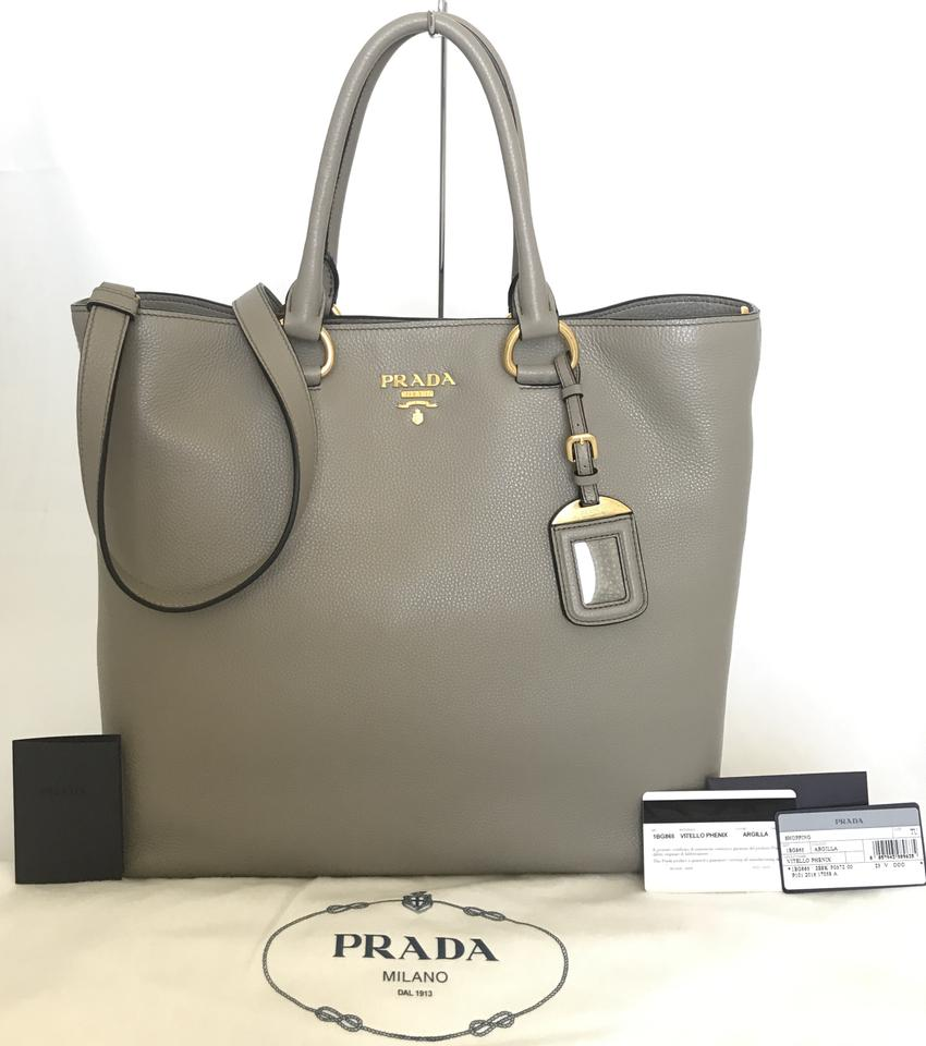 0028cea54cab Prada Vitello Phenix Calf Convertible Shopping Gray Argilla Leather ...