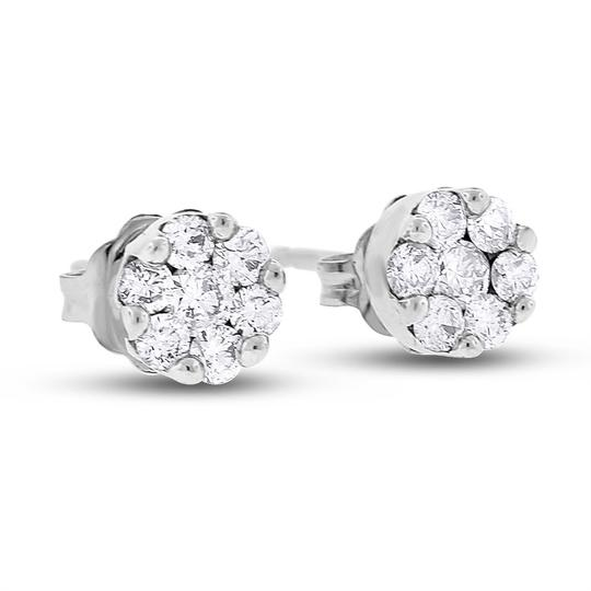 Other 0.42 Ct. Natural Diamond Mini Flower Floral Stud Earrings Solid 14k