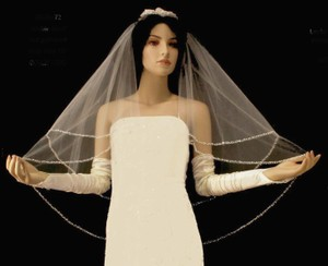 Champagne Two Layer Beaded Edge Fingertip Wedding Veil