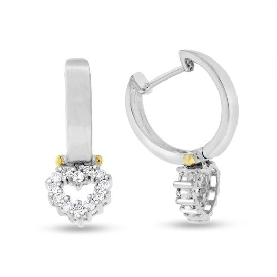 Other 0.36 Ct. Natural Diamonds Love Heart Earrings Matte Finish In Solid 14
