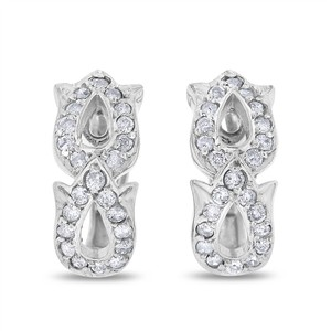 Other 0.55 Ct. Natural Diamond Rose Flower Design Earrings In Solid 14k