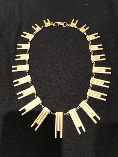 Harvé Benard Harve Bernard Gold Tone, Mat Finish Unique Abstract Graduated Necklace