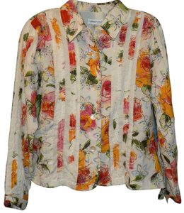 Coldwater Creek Floral Burnout Ruffle Bold Print Multi-Colored Jacket
