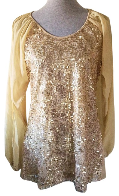 Preload https://item3.tradesy.com/images/badgley-mischka-gold-tan-american-glamour-sequin-tunic-size-8-m-20572232-0-1.jpg?width=400&height=650