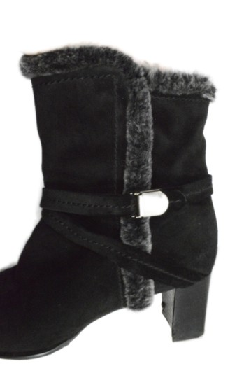 Stuart Weitzman Fur Fur Lined Faux Fur Leather Black Boots