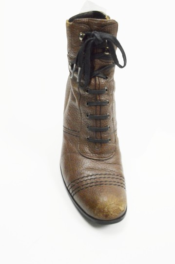 Stuart Weitzman Lace Up Leather Brown Boots