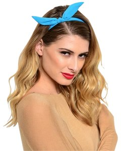 Other Blue Wire Bow tie Bunny Ears Ribbon Bendy Elastic Headband