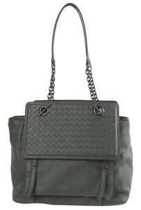 Bottega Veneta Woven Flap Satchel in Light Gray