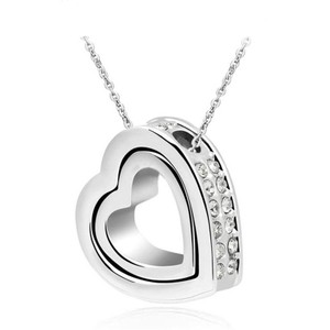 Silver Bogo Free Double Heart Swivel Rhinestone Free Shipping Necklace