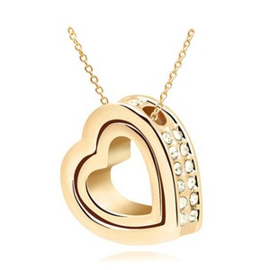 18k Yellow Gold Filled Swivel Rhinestone Heart Necklace Free Shipping