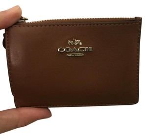 Coach Brown leather coach card holder with ID slot