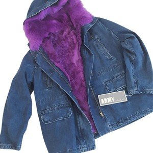 Yves Salomon Parka Denim Fur Vest Fur Coat