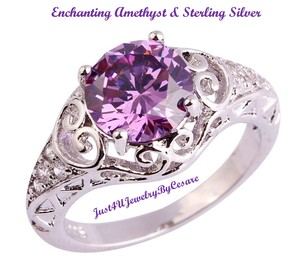 Other Elaberate Amethyst & Silver Ring with partial cutout band