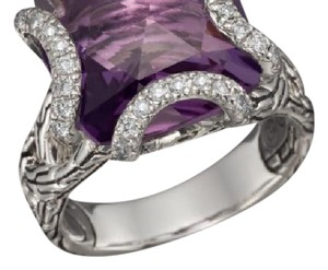 John Hardy JOHN HARDY SILVER RING WITH DIAMONDS AND AMETHYST STONE
