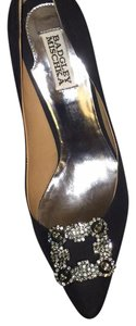 Badgley Mischka Black Silk Pumps