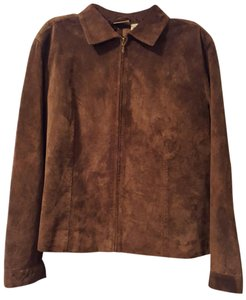 Chico's Suede Leather Brown Blazer