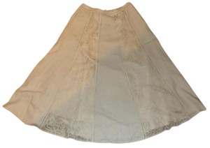 Coldwater Creek Lace Neutral A-line Classic Cream Skirt Taupe