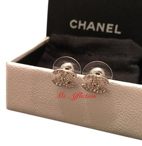 Chanel CHANEL Authentic CC Crystal Silver Earrings Strass In Box
