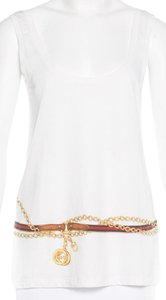 Gucci Gg Hardware Logo Print T Shirt White, Gold, Red
