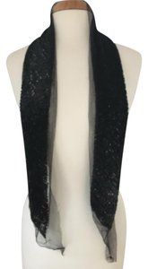 Marc Jacobs Black Sequin and Silk Tulle Scarf