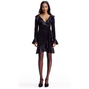Diane von Furstenberg Wool Silk Ruffle Knit Longsleeve Dress