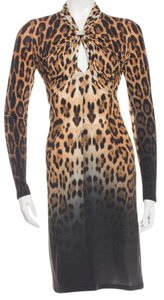 Roberto Cavalli Gold Hardware Leopard Dress