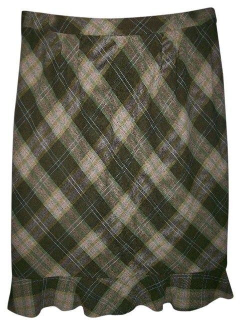 Ann Taylor LOFT Skirt Green Plaid
