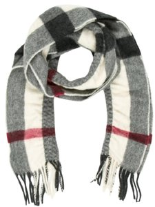 Burberry White, red, black Burberry Nova Check print cashmere scarf