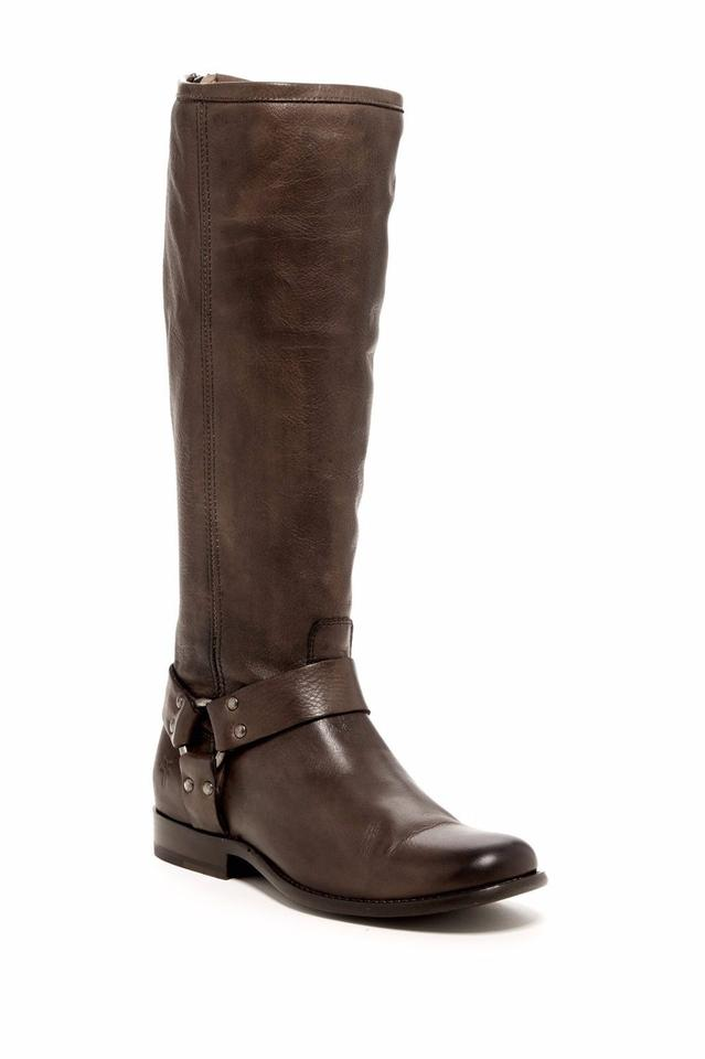 Frye Phillip Harness Antique Tall Boot Womens Soft Antique Harness Gray Leather 7b79f1