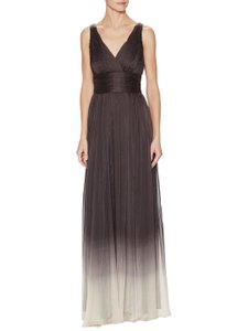 Halston Charcoal Ombre V-neck Ombre Gown Dress