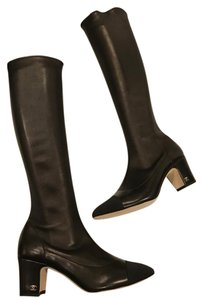 Chanel Cc Stretch Lambskin Black Boots