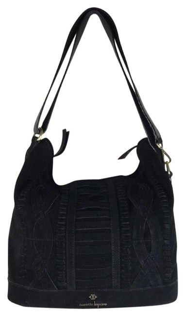 Item - Hobo Leather Lace Front Black Suede Cross Body Bag