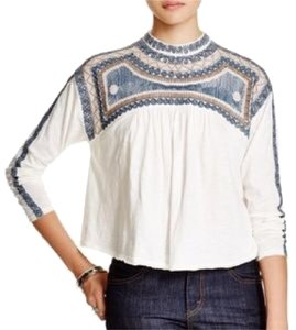 Free People Top White, Ivory, Blue, Tan, Brown