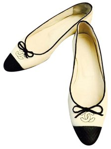 Chanel Leather Cap Toe Logo Black and White Flats