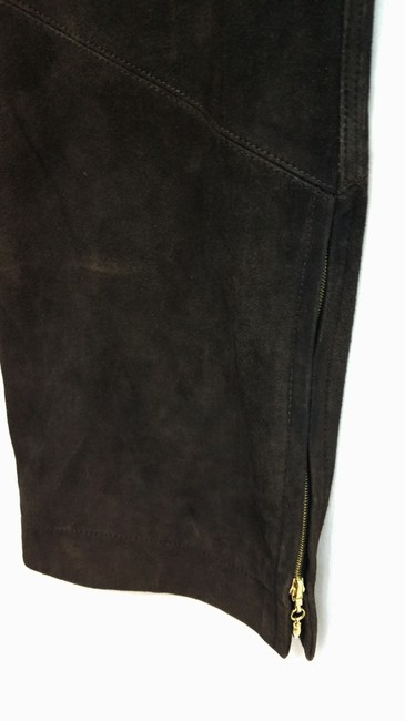 St. John Sport by Marie Gray Brown Suede Leather Pants Image 3