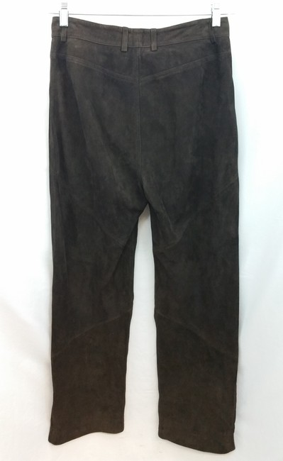 St. John Sport by Marie Gray Brown Suede Leather Pants Image 4