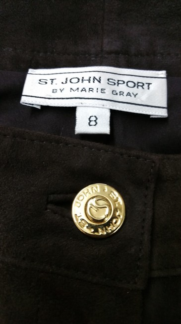 St. John Sport by Marie Gray Brown Suede Leather Pants Image 5