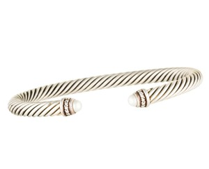 David Yurman Sterling silver David Yurman Cable Classics diamond pearl cuff