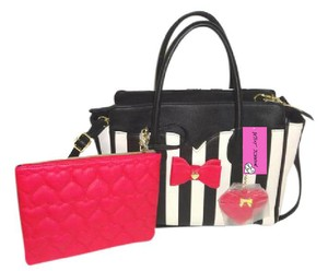 Betsey Johnson Striped Bone/black Fuchsia Pouch Satchel in BONE/BLACK STRIPE