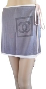 Chanel Interlocking Cc Monogram Cc Logo Wrap Mini Skirt Purple, Grey, Silver