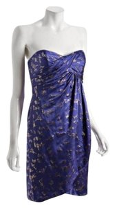 Nicole Miller Strapless Foil Print Metallic Royal Blue Dress