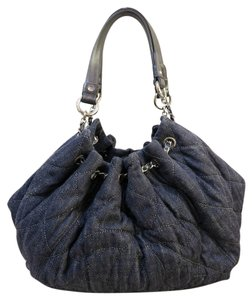 Chanel Quilted Denim Cabas Shoulder Bag