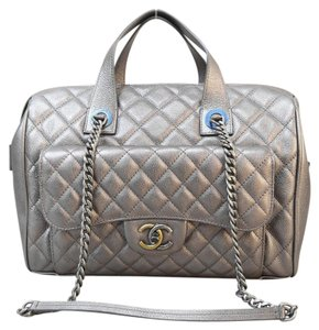 Chanel Metallic Grained Calfskin Bowling Satchel in slivery