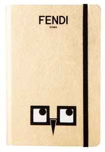 Fendi Metallic gold-tone leather Fendi bird-eye print notebook
