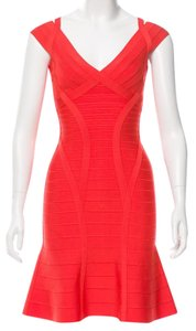 Herv Leger Sleeveless Ontoria V-neck Dress